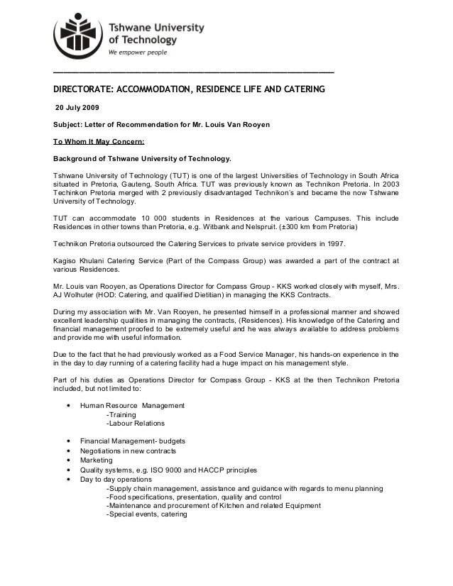TUT Reference Letter