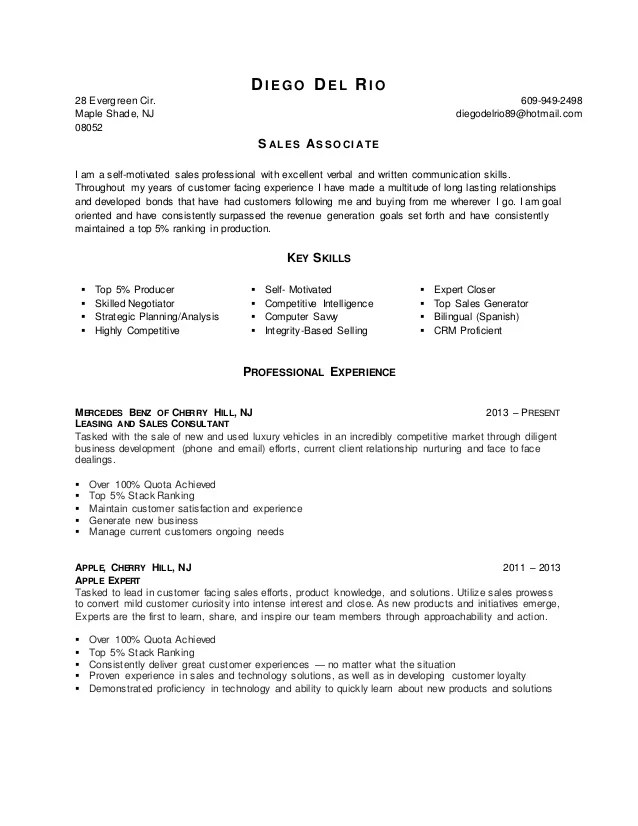 Diego Del Rio Sales Associate Resume 2016