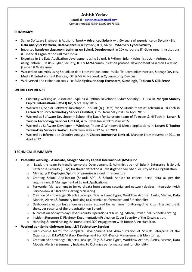 splunk admin resume sample