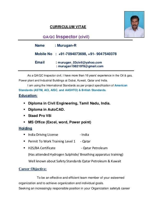 Civil Qa&qc Inspector Updated Resume