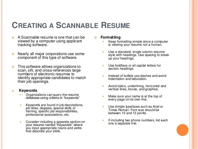 Format of a scannable resume  larepairinnycwebfc2com