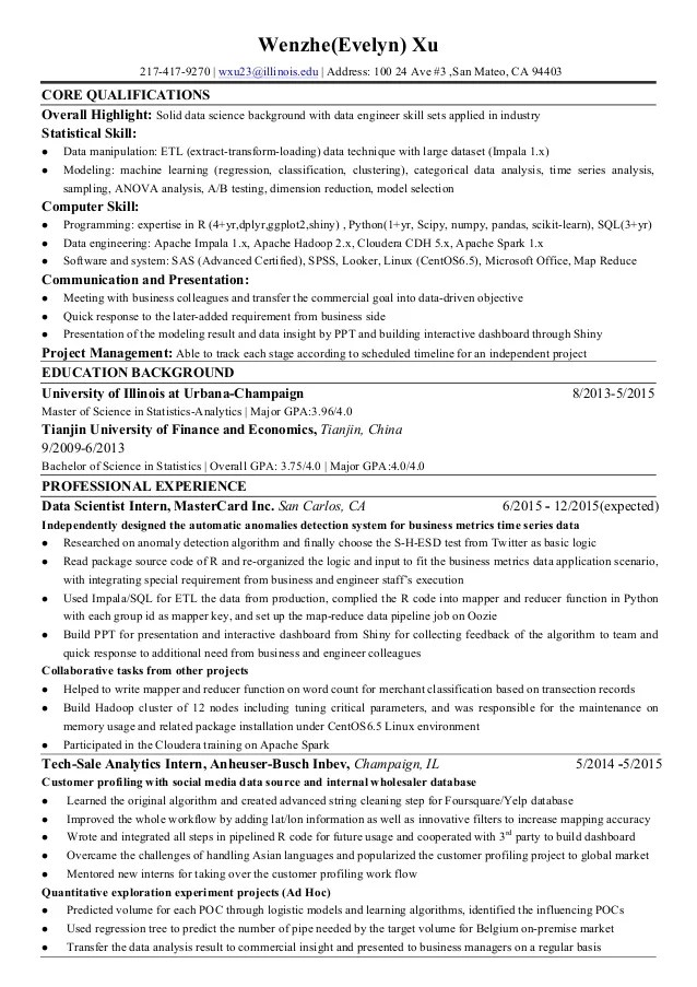 Wenzhe Xu Evelyn Resume For Data Science