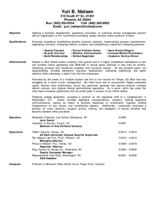 Resume Brief Background
