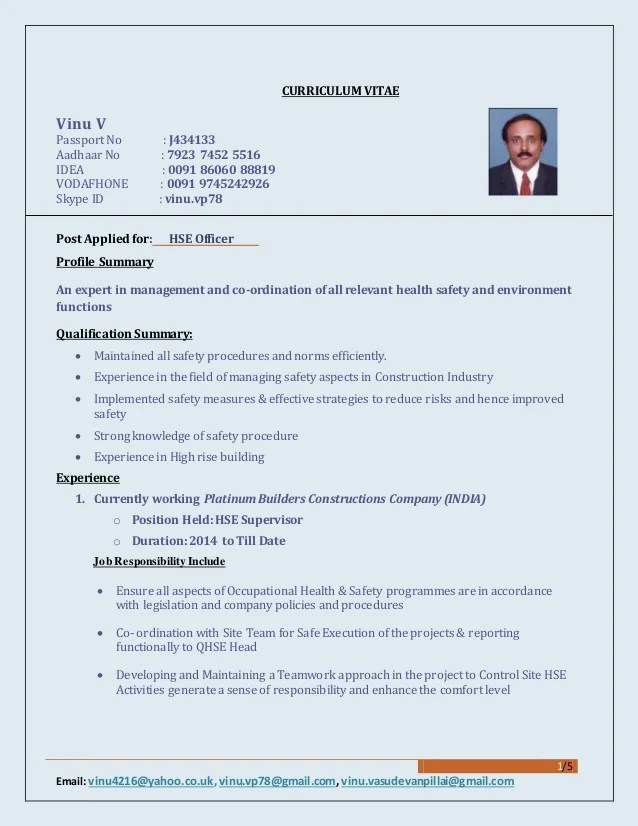 Safety ficer Resumes construction safety officer resume doc