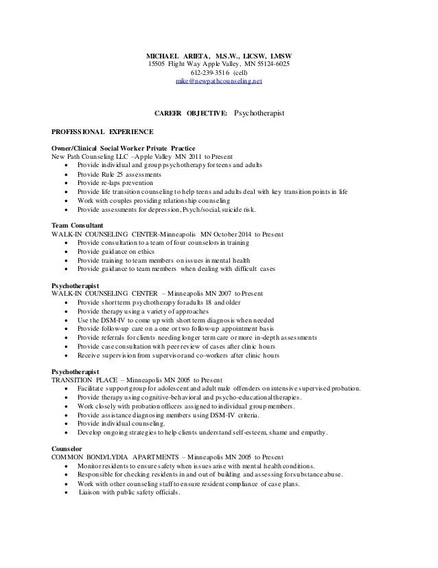Washburn Center School Based Therapist Resume
