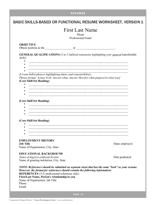 Resume Building Lesson Plans High School Professional Resumes   Resume  Worksheet Template  Resume Builder Worksheet