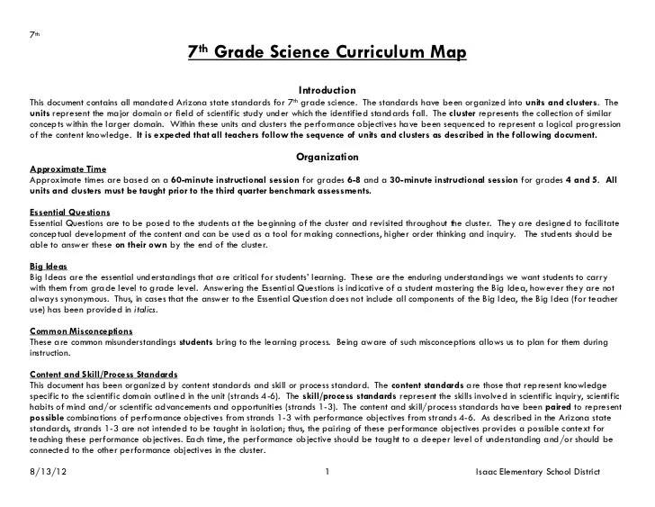 7th Grade Science Maps Revised