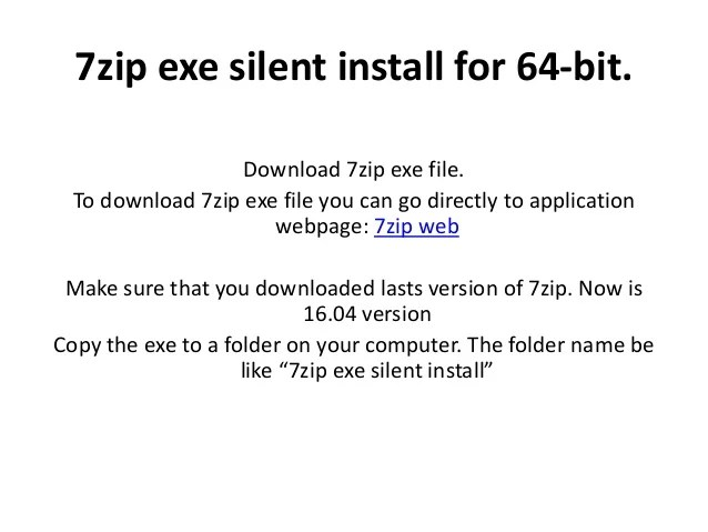 7zip Sfx Silent Extract