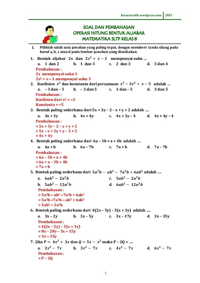 Soal Matematika Kelas 8 Semester 2 Kurikulum 2013 Dan Pembahasannya : matematika, kelas, semester, kurikulum, pembahasannya, 8.1.1), Pembahasan, Operasi, Hitung, Bentuk, Aljabar, Matematika