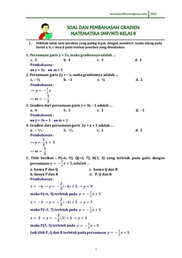 Soal Matematika Kelas 8 Semester 2 Kurikulum 2013 Dan Pembahasannya : matematika, kelas, semester, kurikulum, pembahasannya, 8.5.1), Pembahasan, Gradien,, Matematika, Kelas