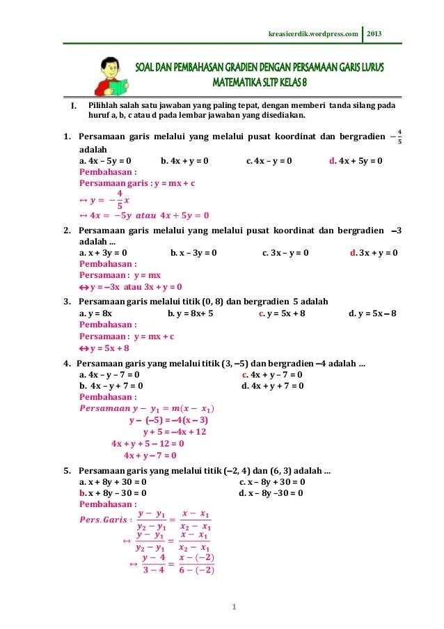 8 6 1 Soal Dan Pembahasan Persamaan Garis Lurus