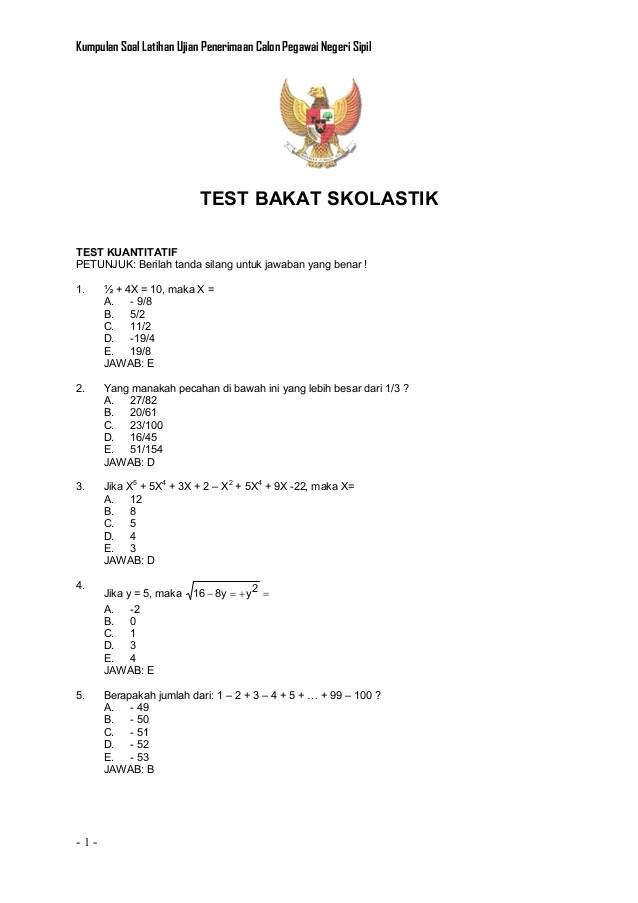 Contoh Soal Tes Bakat Skolastik Smk Contoh Soal Terbaru Cute766