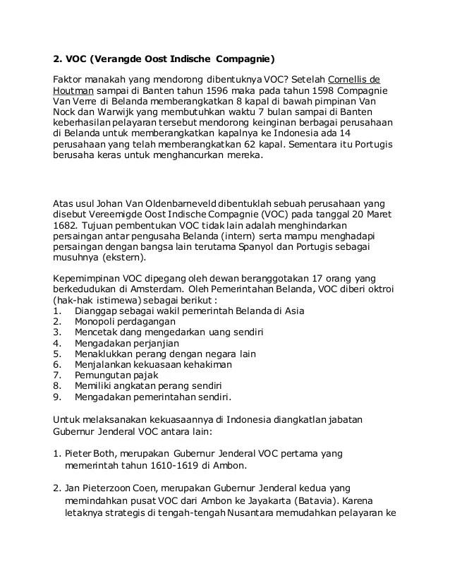 Kebijakan VOC : Pengaruh dan Hak Istimewa Serta Tujuan dan...