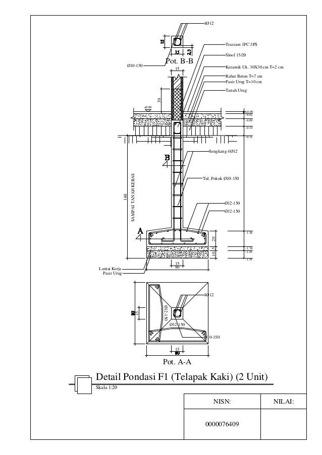 Detail Pondasi Telapak : detail, pondasi, telapak, Detail, Pondasi, (telapak, Kaki)