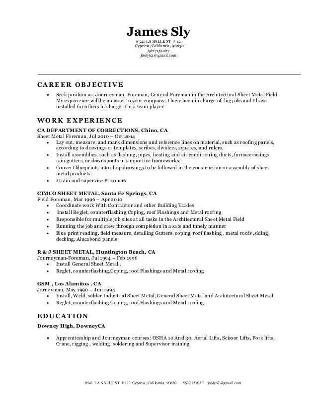 Sheet Metal Resume Examples Examples Of Resumes