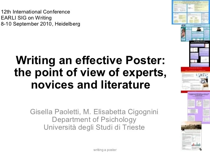 Writing an effective Poster the point of view of experts novices an