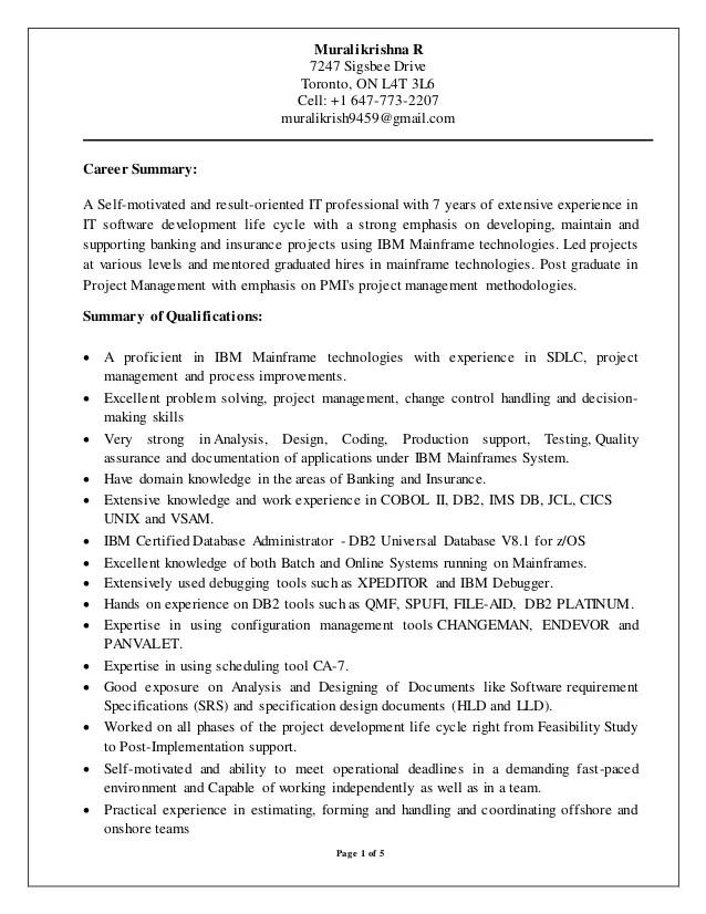 mainframe qa resume sample
