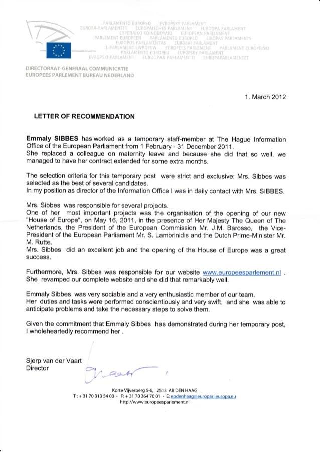 Letter of recommendation European Parliament