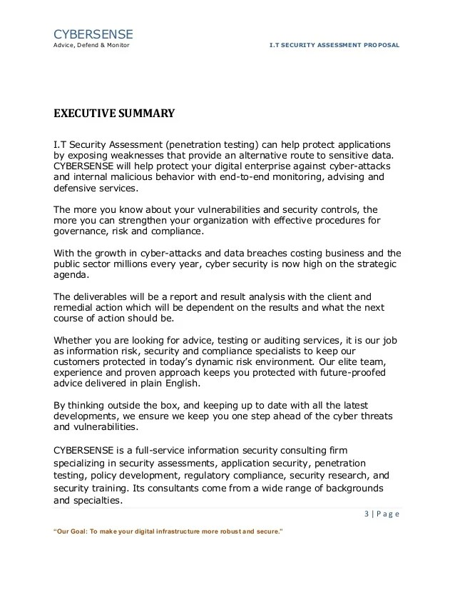 Policy Security Information Summary Executive