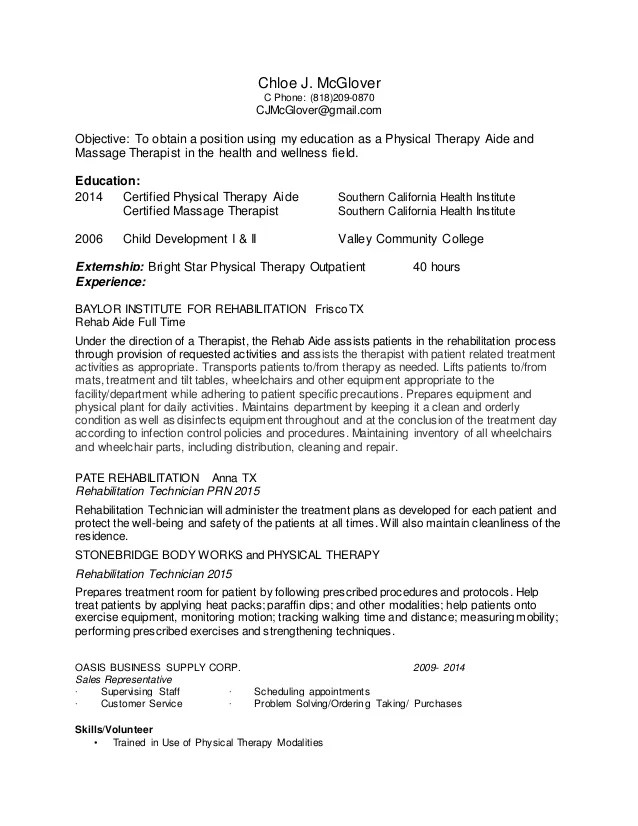 rehab aide resume sample