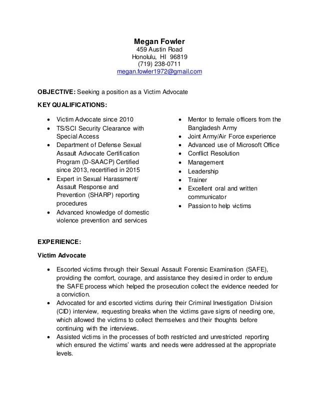 Targeted Resume Victim Advocate
