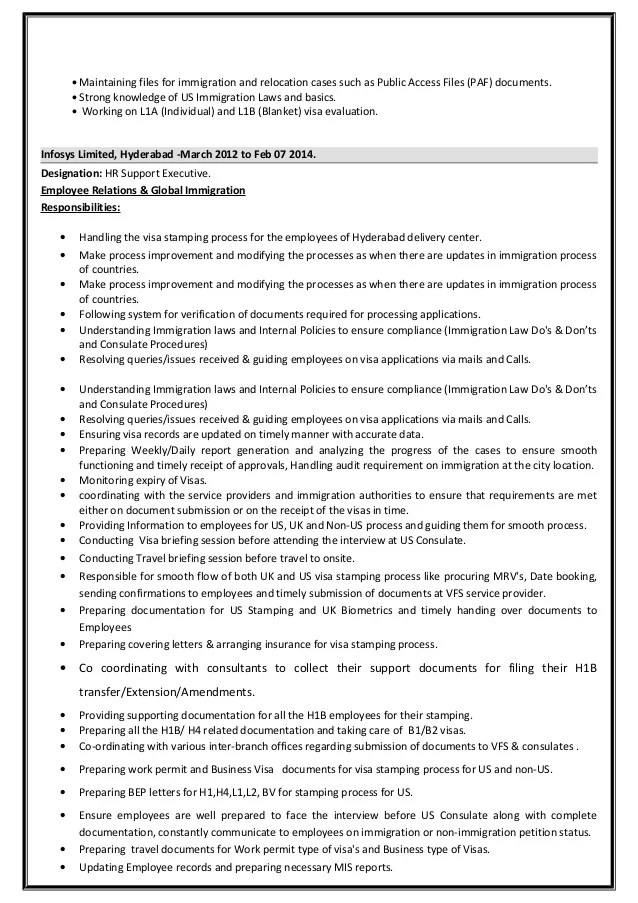 resume format for h1b visa process