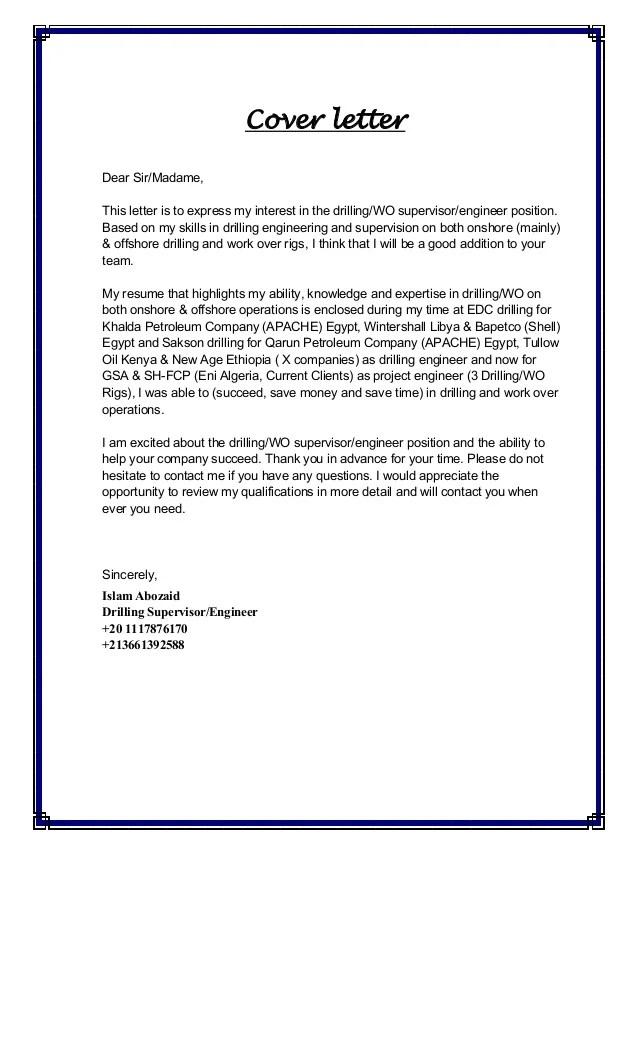 Islam Abozaid CV  Cover Letter Algeria