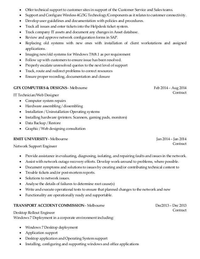 resume for experienced desktop support engineer
