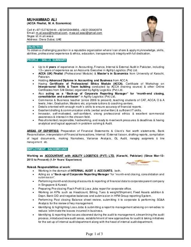 MUHAMMAD ALI Finance Professional Gulf Resume 2