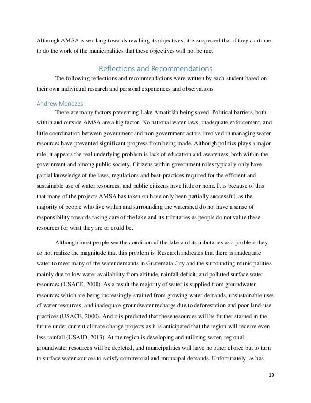 AMSA Internship Report Save The Lake