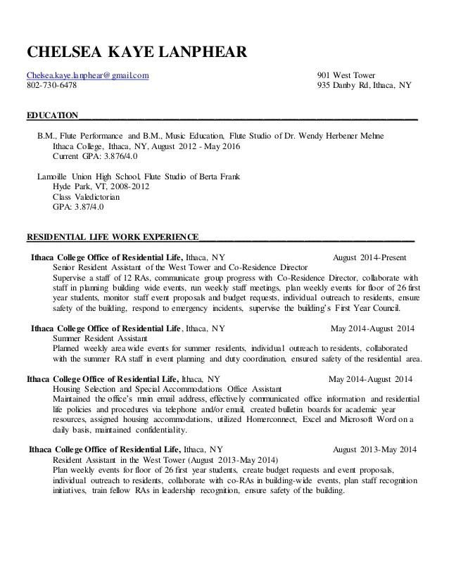 Chelsea Kaye Lanphear Residence Life Resume