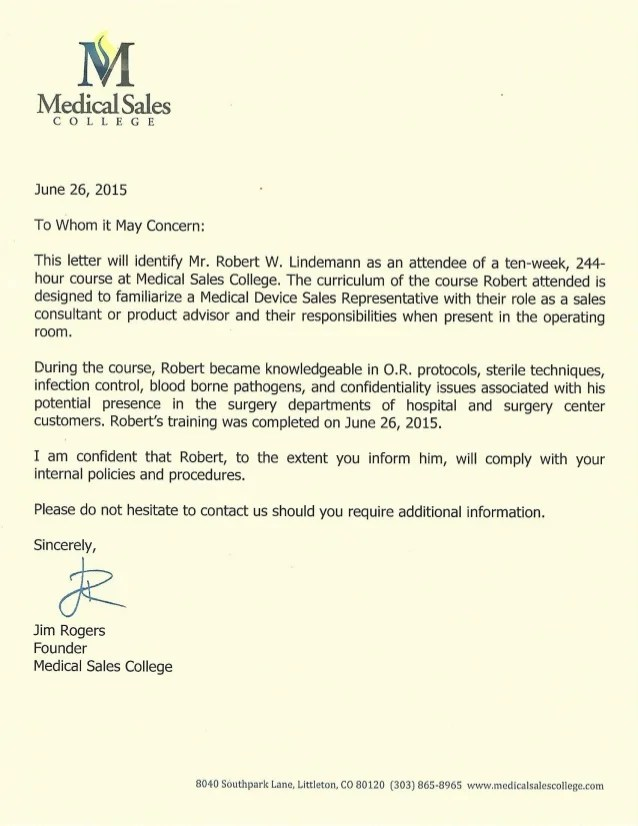 Letter Of Recommendation Jim Rogers CEO Medical Sales