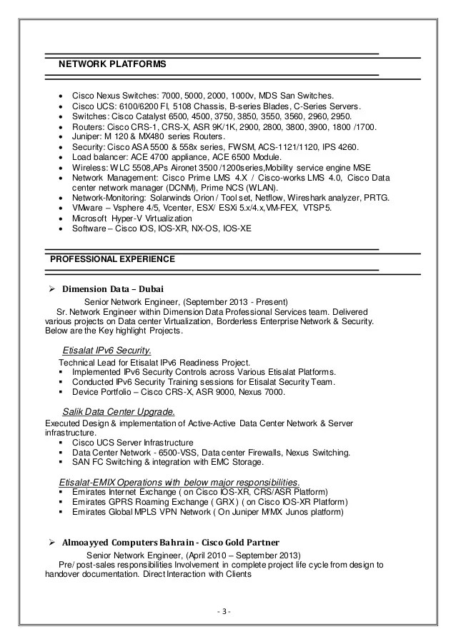 cisco ucs sample resume