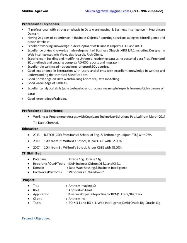 sap bods resume sample