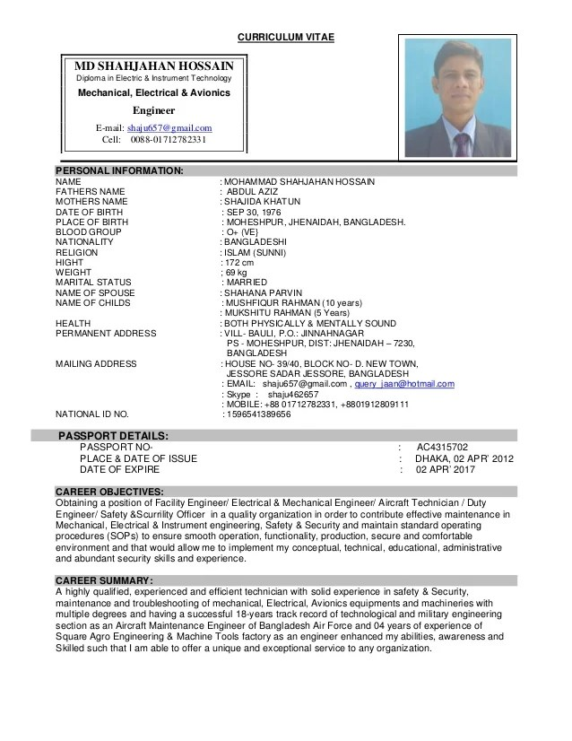 resume format for electrical engineer pdf
