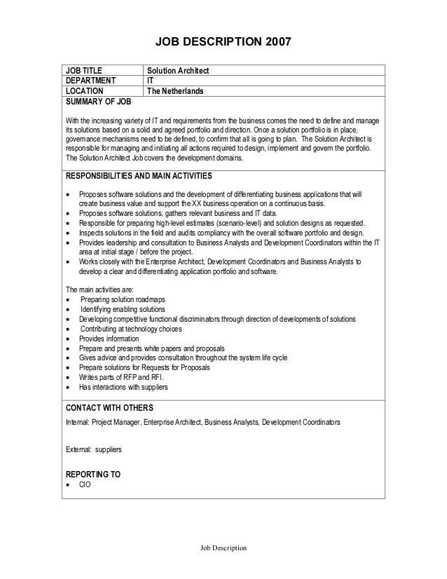 Job Description  Solution Architect