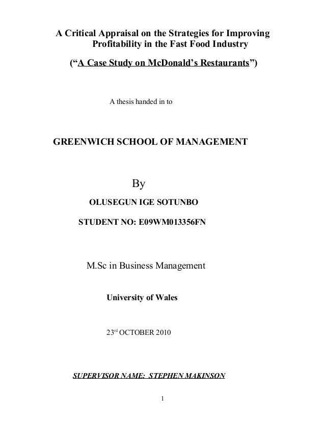 STRATEGY FOR QUALITY IMPROVEMENT IN FAST FOOD CHAIN