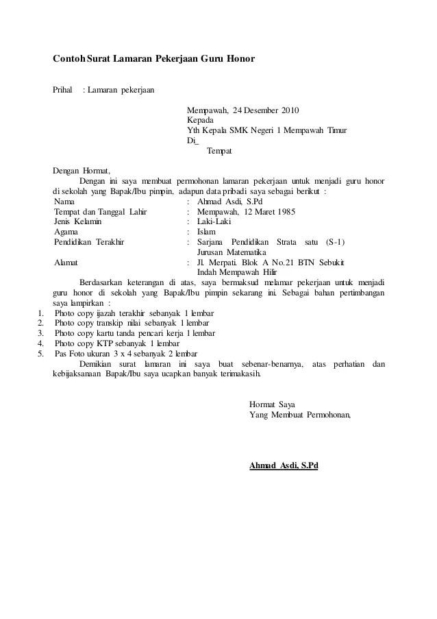 Contoh Lamaran Kerja Honorer Download Contoh Lengkap Gratis