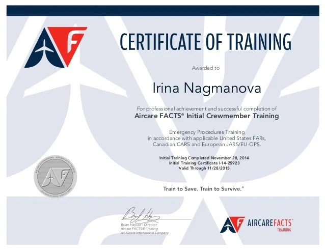 FACTS Initial Cabin Crew Training CERTIFICATENagmanova