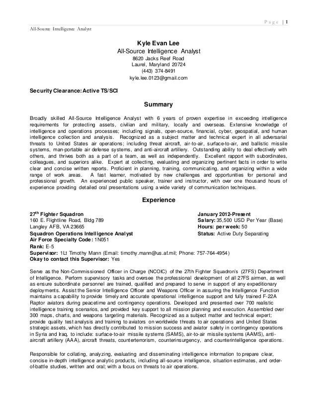 Fbi Intelligence Analyst Sample Resume