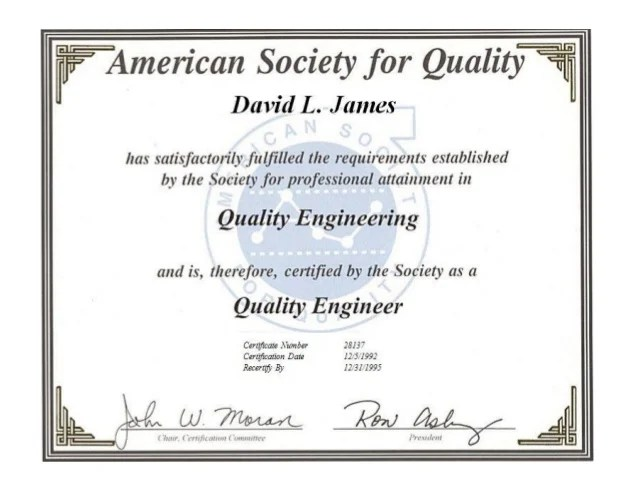 ASQ Certified Quality Engineer Certification