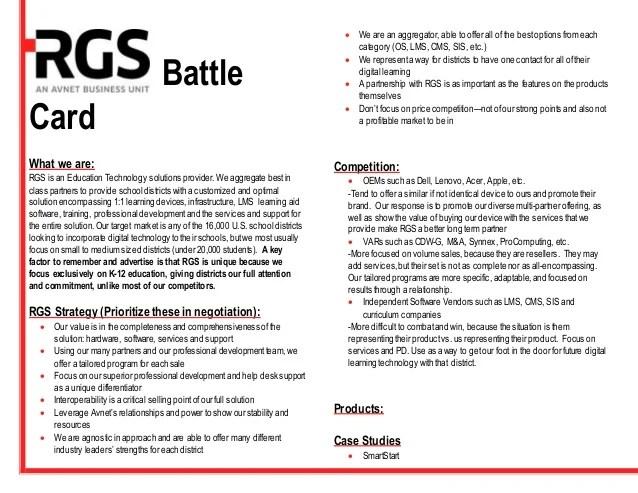 RGS battle card