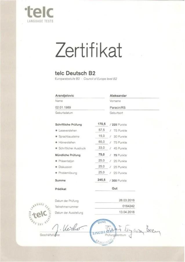Zertifikat Telc Deutsch B2
