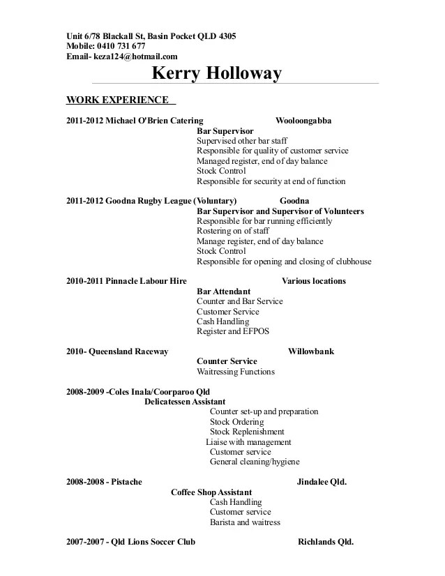 K Holloway Resume