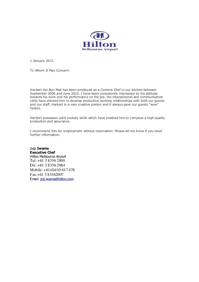Recommendation Letter From Hilton