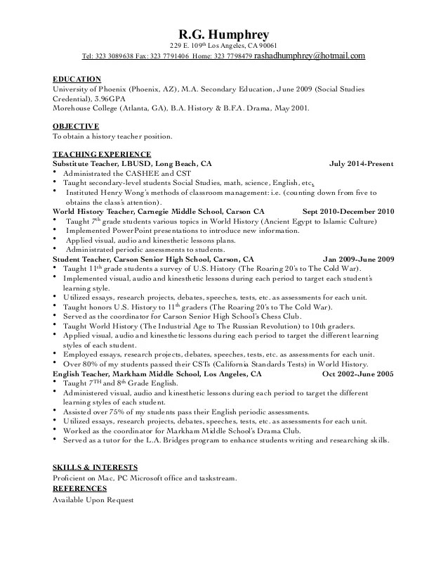 teacher resume education section