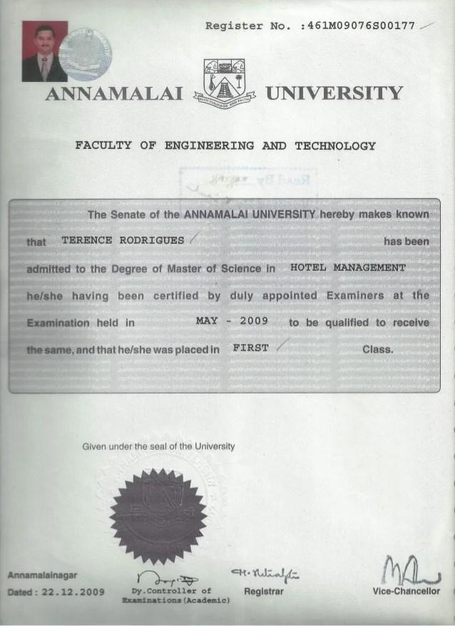 Msc Hotel Management Convocation certificate0001