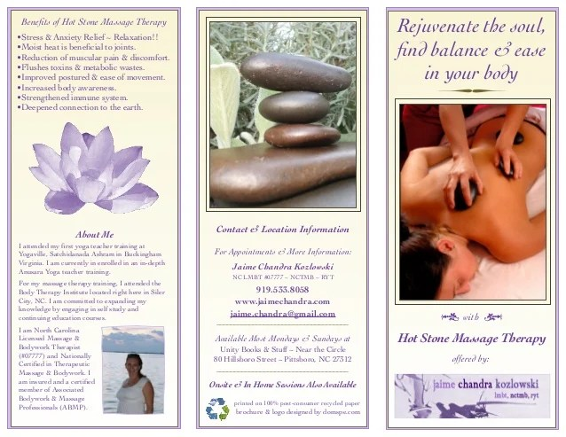 Trifold Brochure Massage