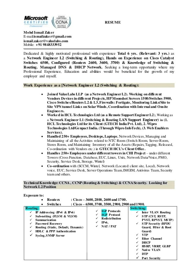 resume for job mail