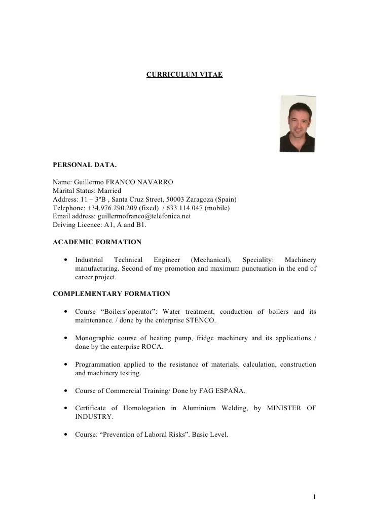 Curriculum Vitae English Example Professional Resumes Sample Online